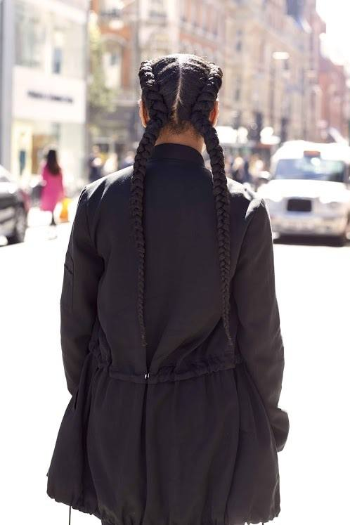 hair braiding: Dutch pigtails