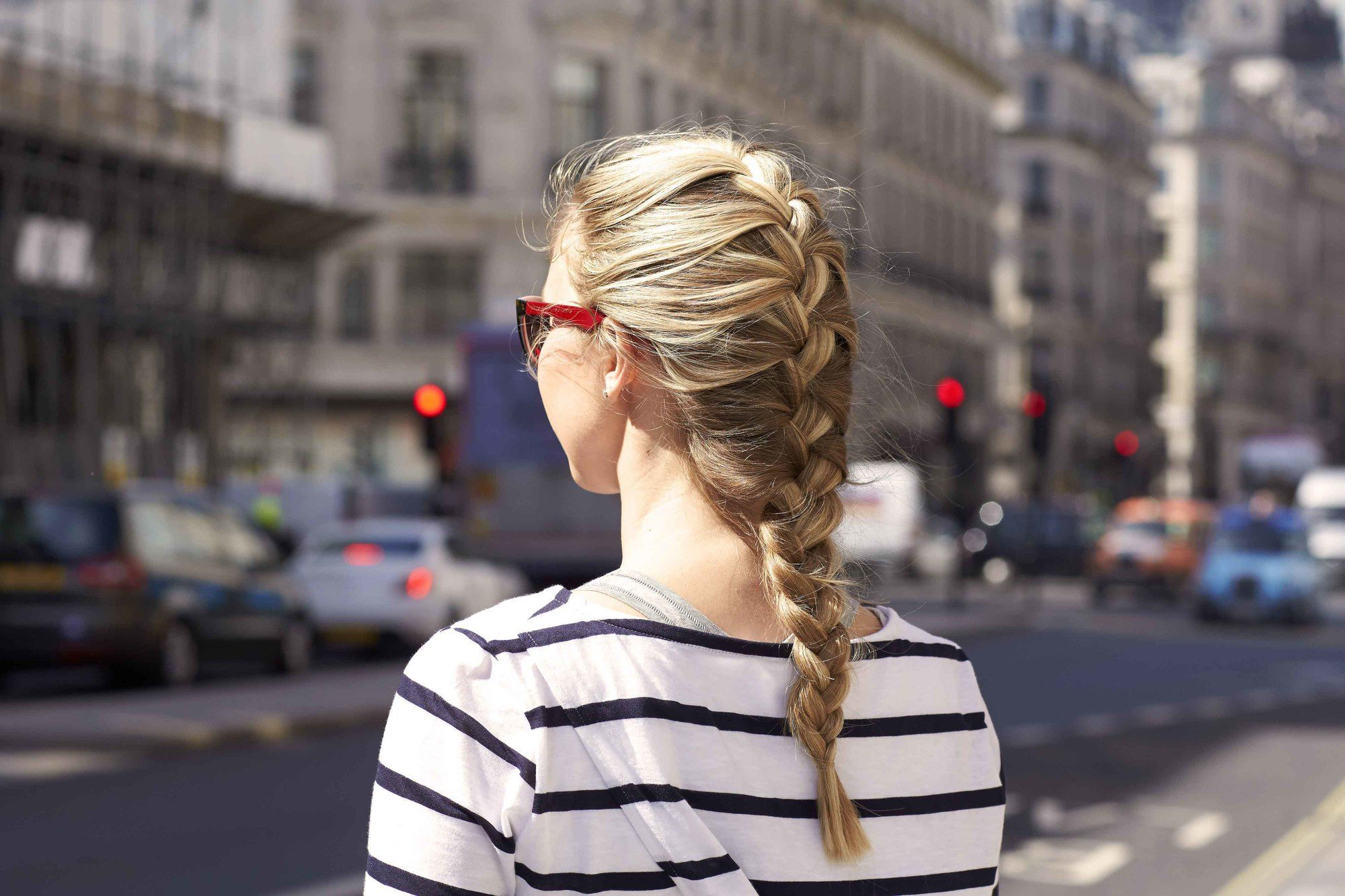 hair braiding with a French braid