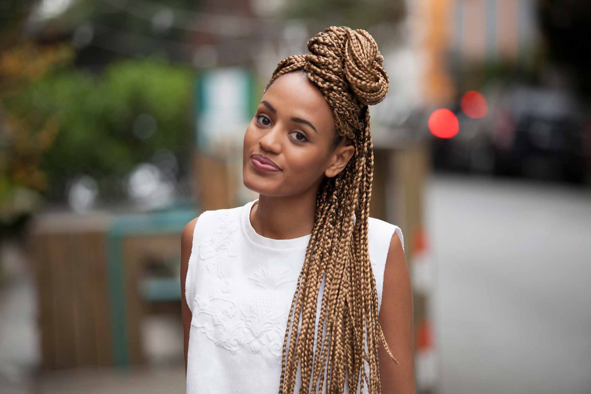 how to style box braids: chignon