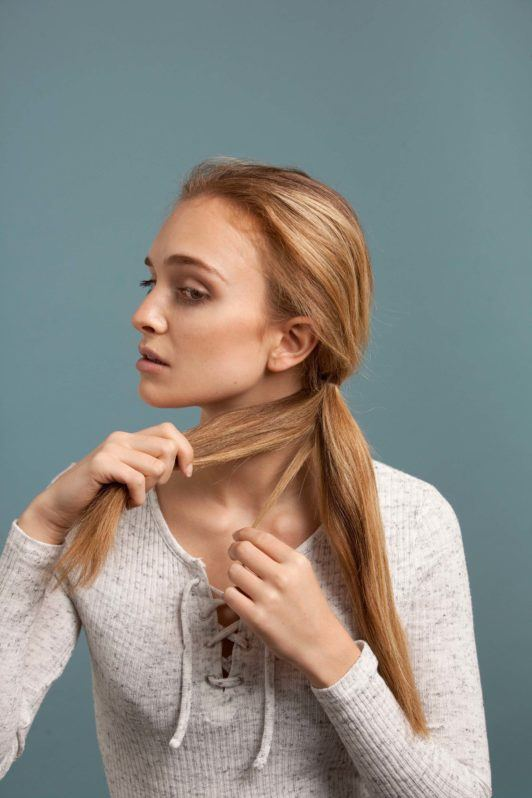how to make an inverted fishtail braid: create sections