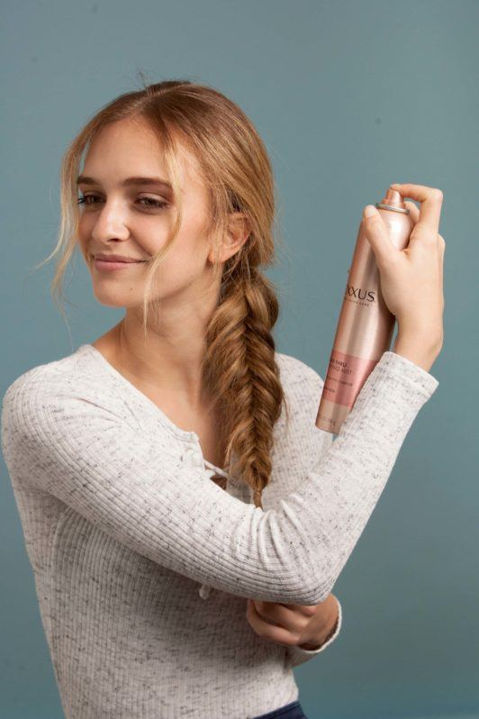 how to make an inverted fishtail braid: set with hairspray