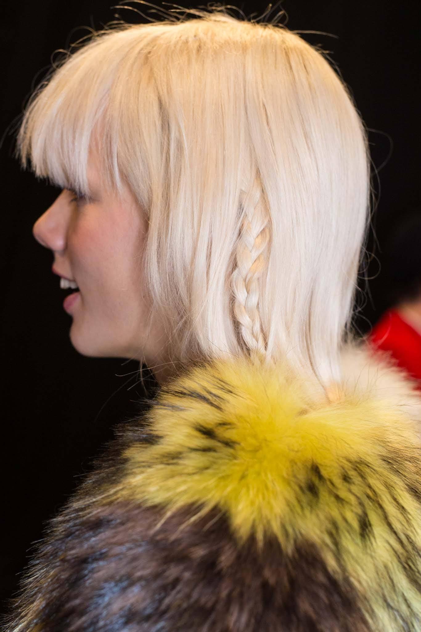 short hair braid: accent braid on blonde hair