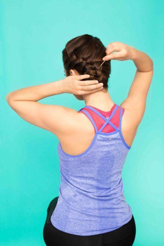 side braid bun tutorial: pin in place