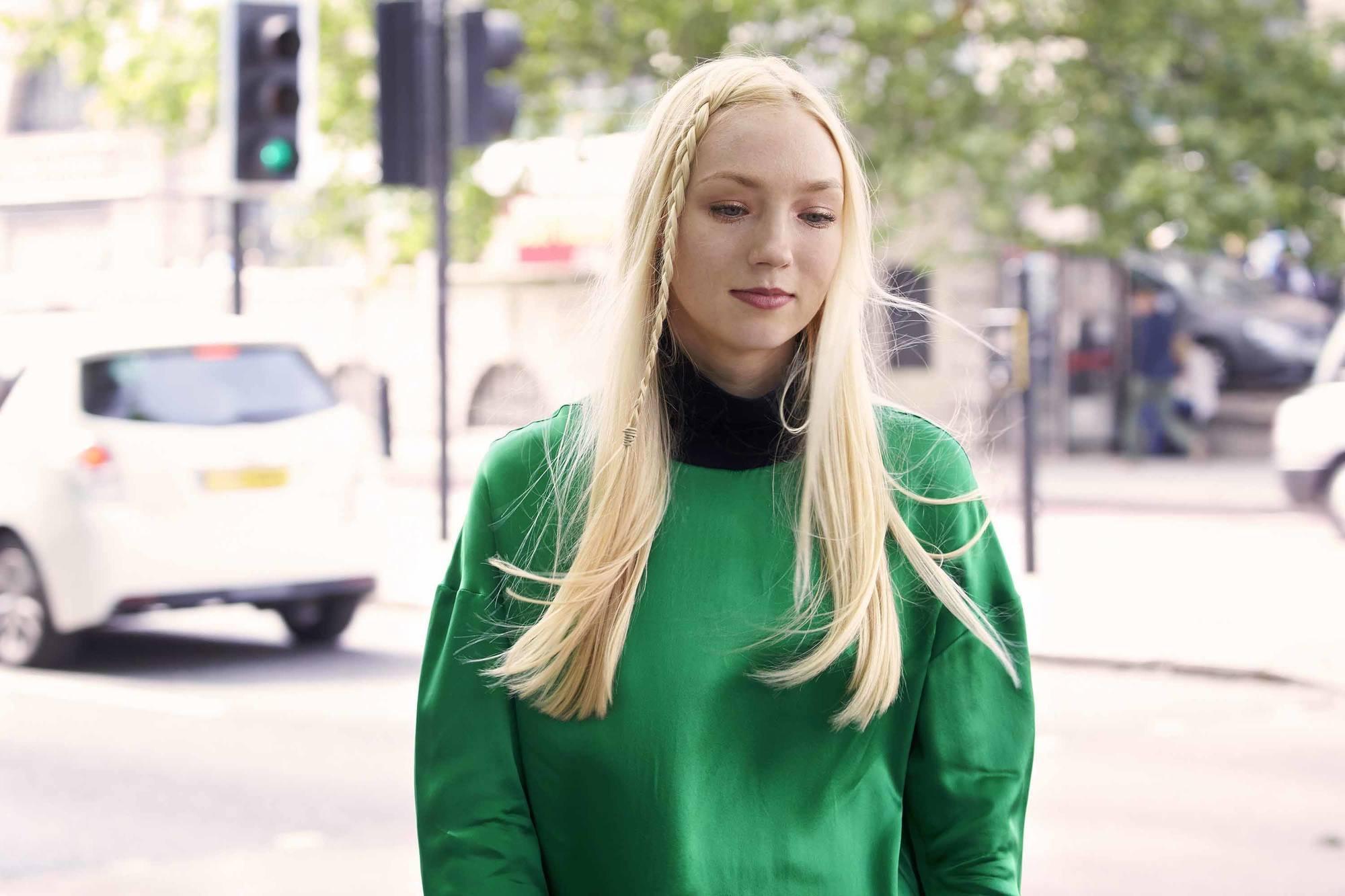 side braid hairstyles: skinny accent braid on blonde hair