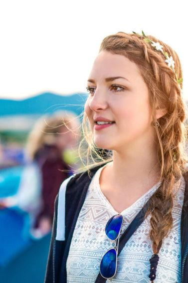 side braid hairstyles on long hair with flower crown