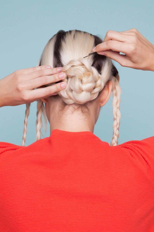 snake braid: wrap hair with bobby pins