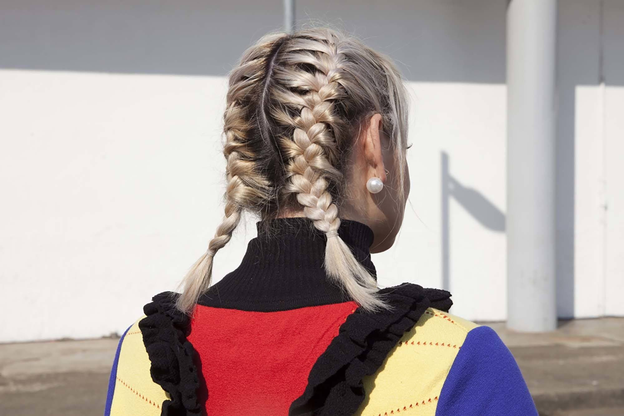 two French braids on short hair