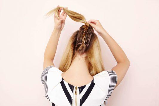 upside down french braid ponytail