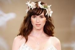 modern wedding hair accessories with wavy hair