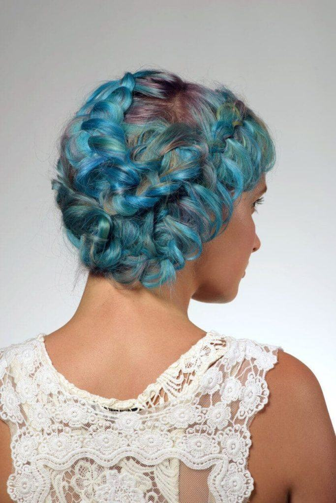 2017 hairstyles blue and purple intricate braid updo