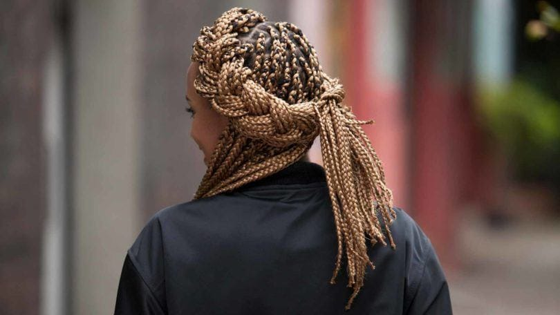 big box braids in a french braided crown