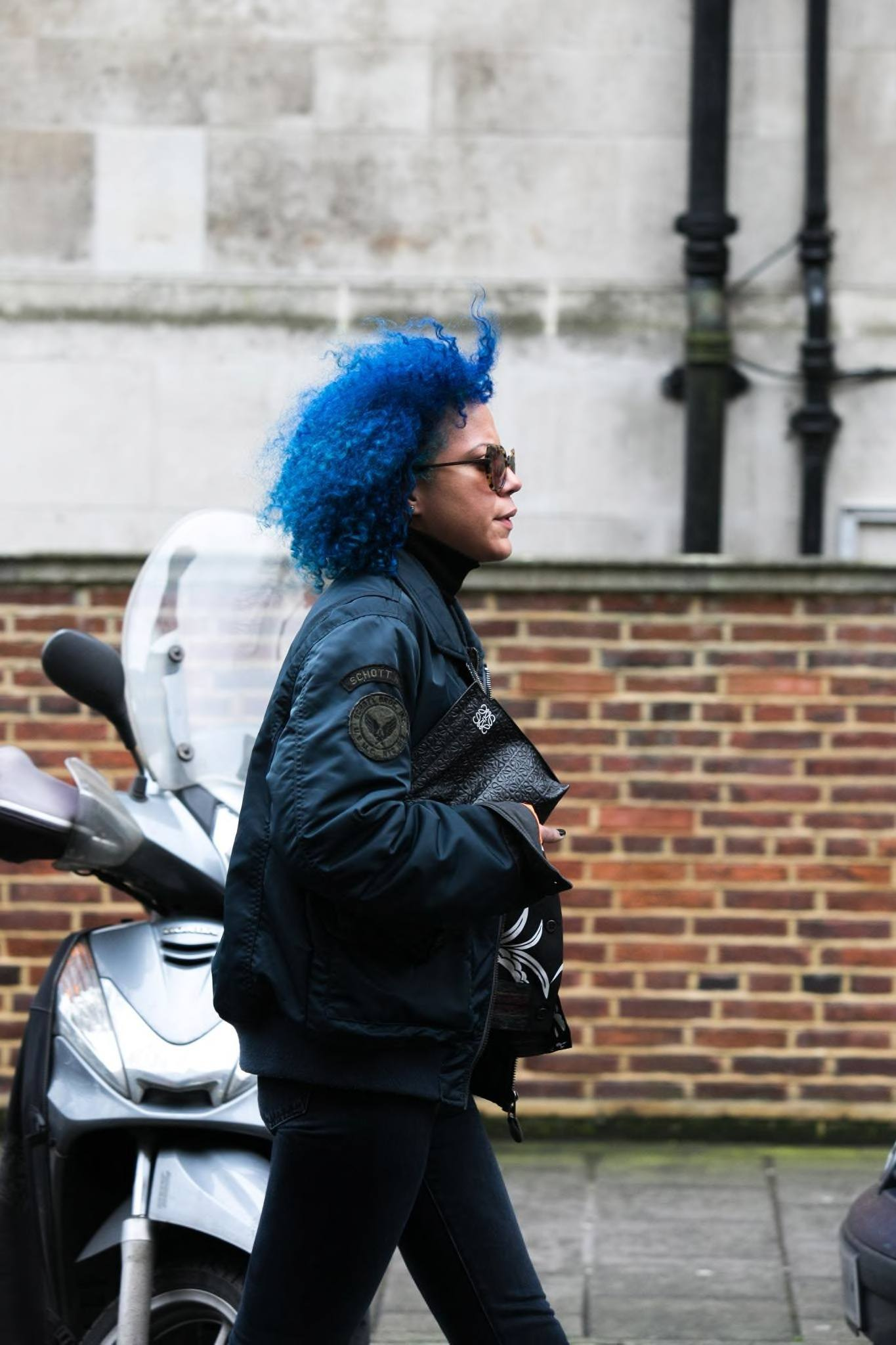 blue hair trend on an afro