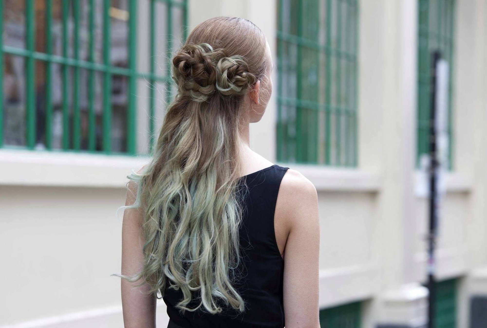 blue hair trend in an updo