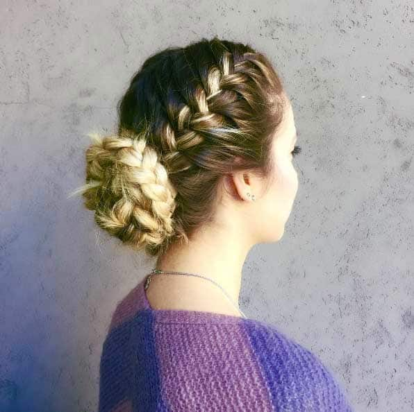 french braided updos for long hair
