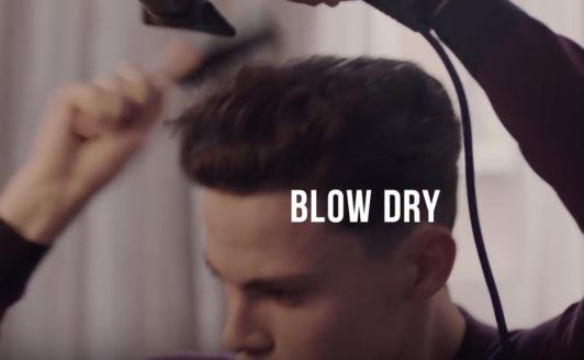 comb over hairstyle: blowdry hair