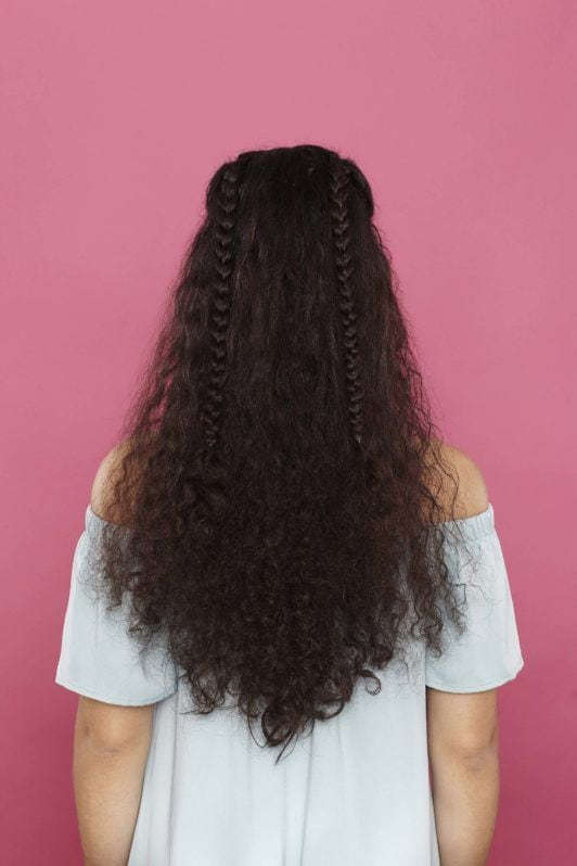curly braided hairstyles tutorial: two braids
