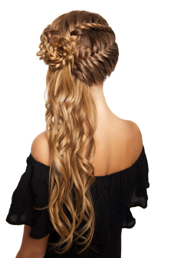 curly braids flower braid