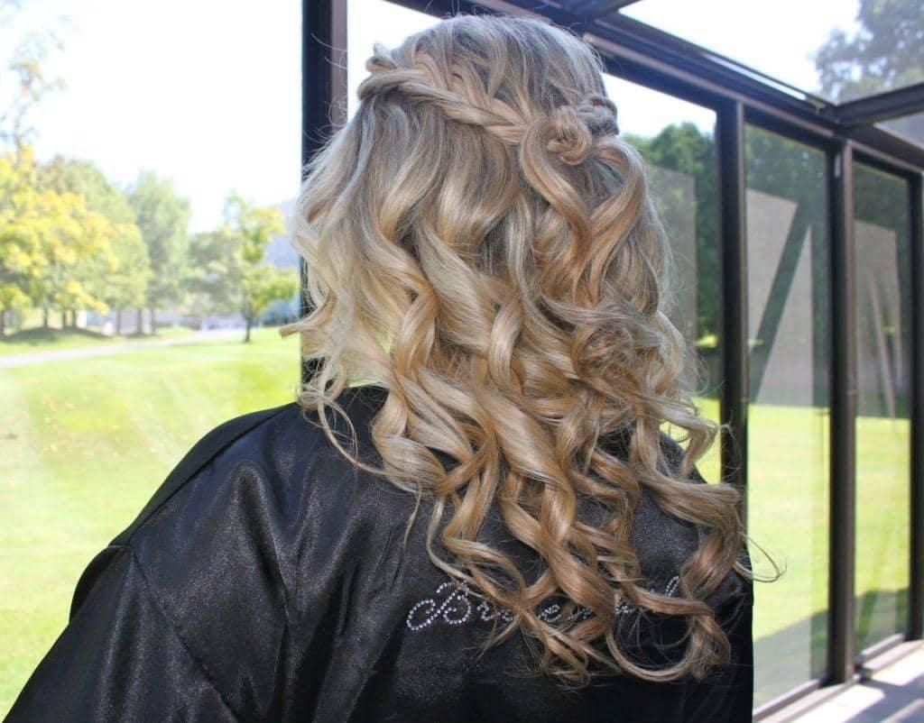curly braids wedding style