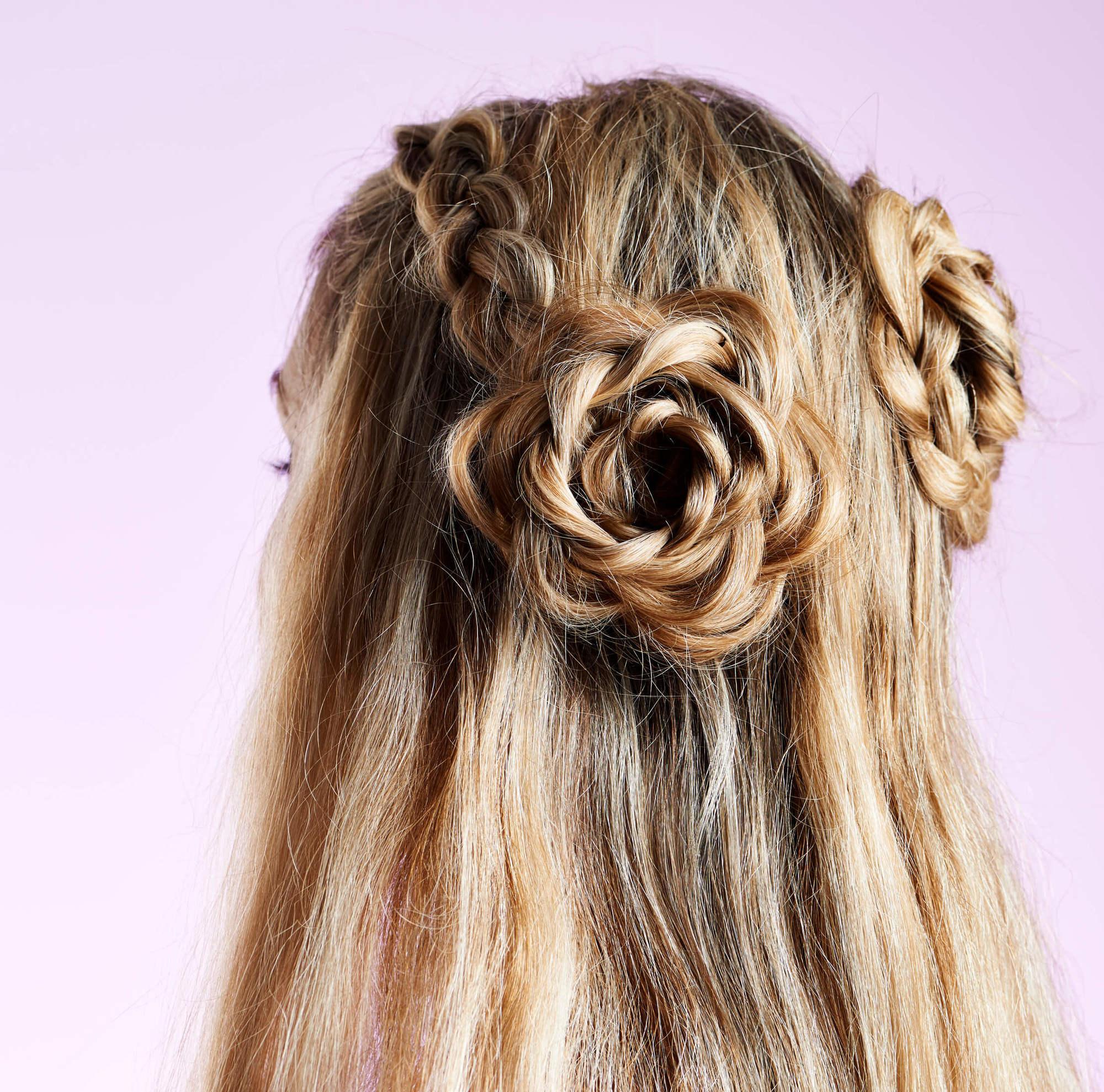 Cute braid styles: flower braided bun
