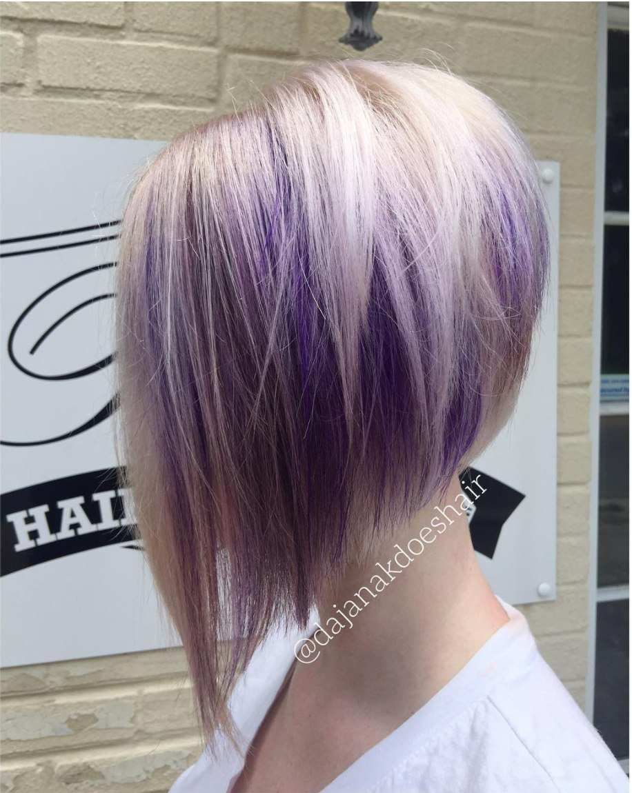 platinum and purple hair in a bob