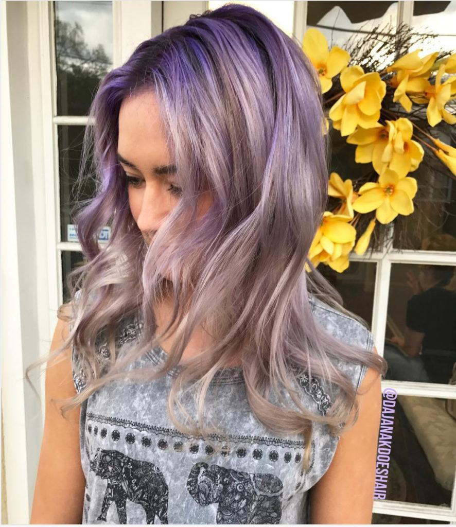 gray purple hair with highlights