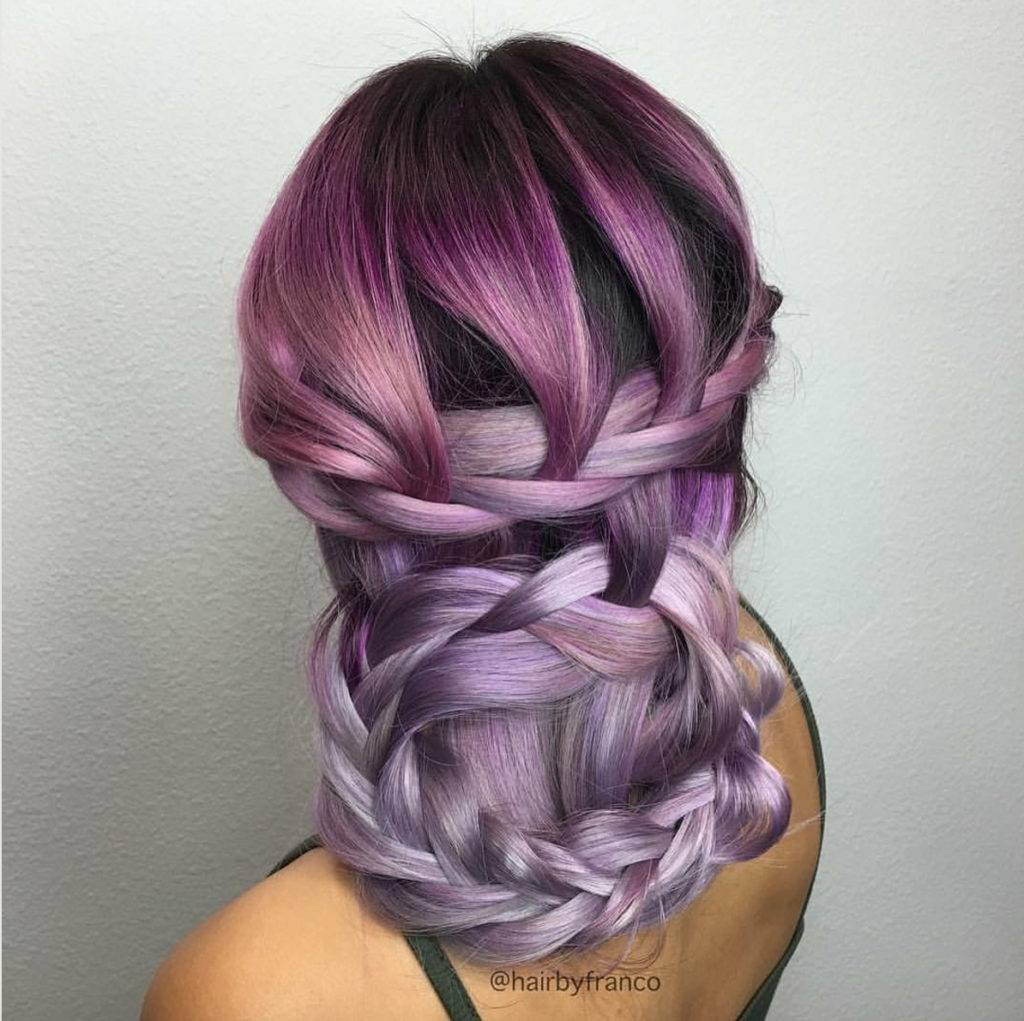 basket braided purple hair