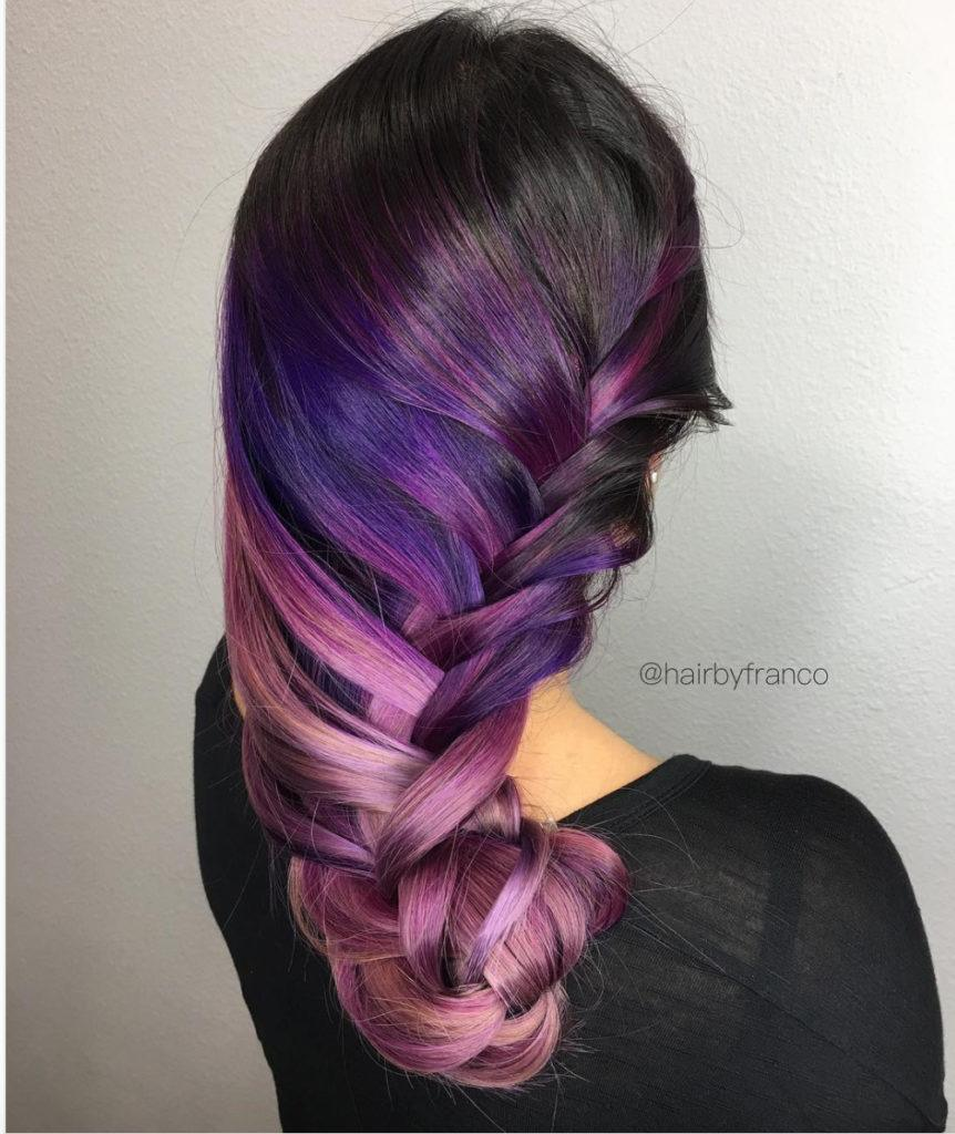 black purple hair rainbow