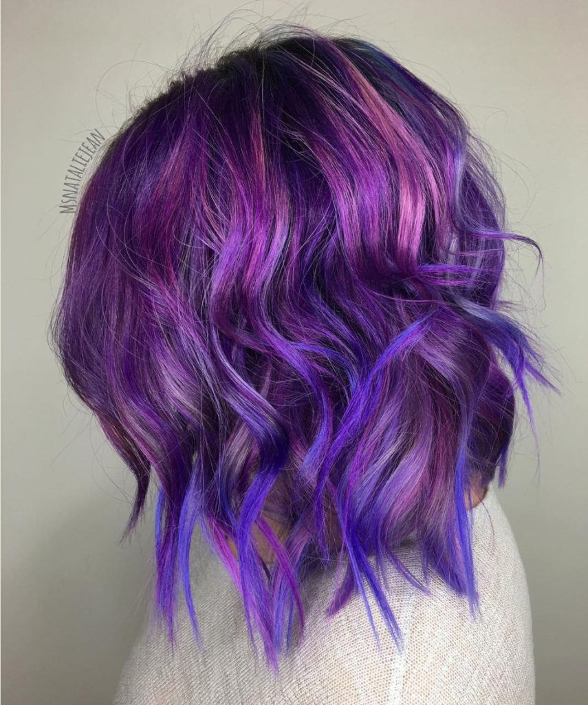dark purple hair with blue waves