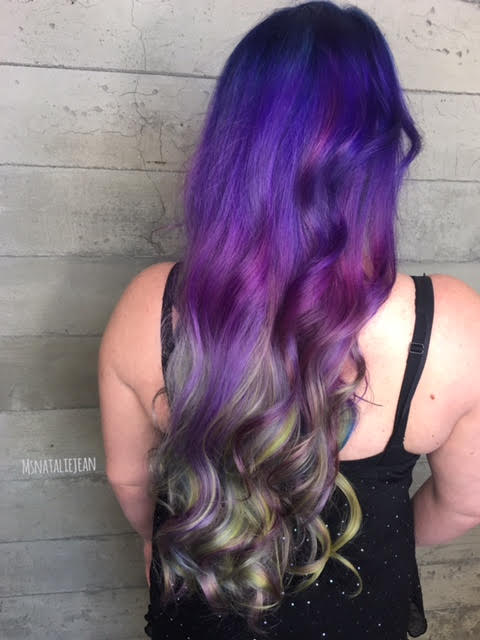 purple hair with dark ombré waves