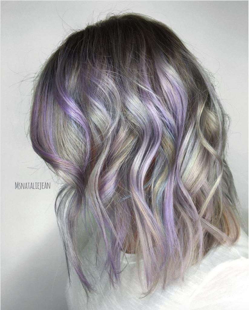 light purple hair with silver tones