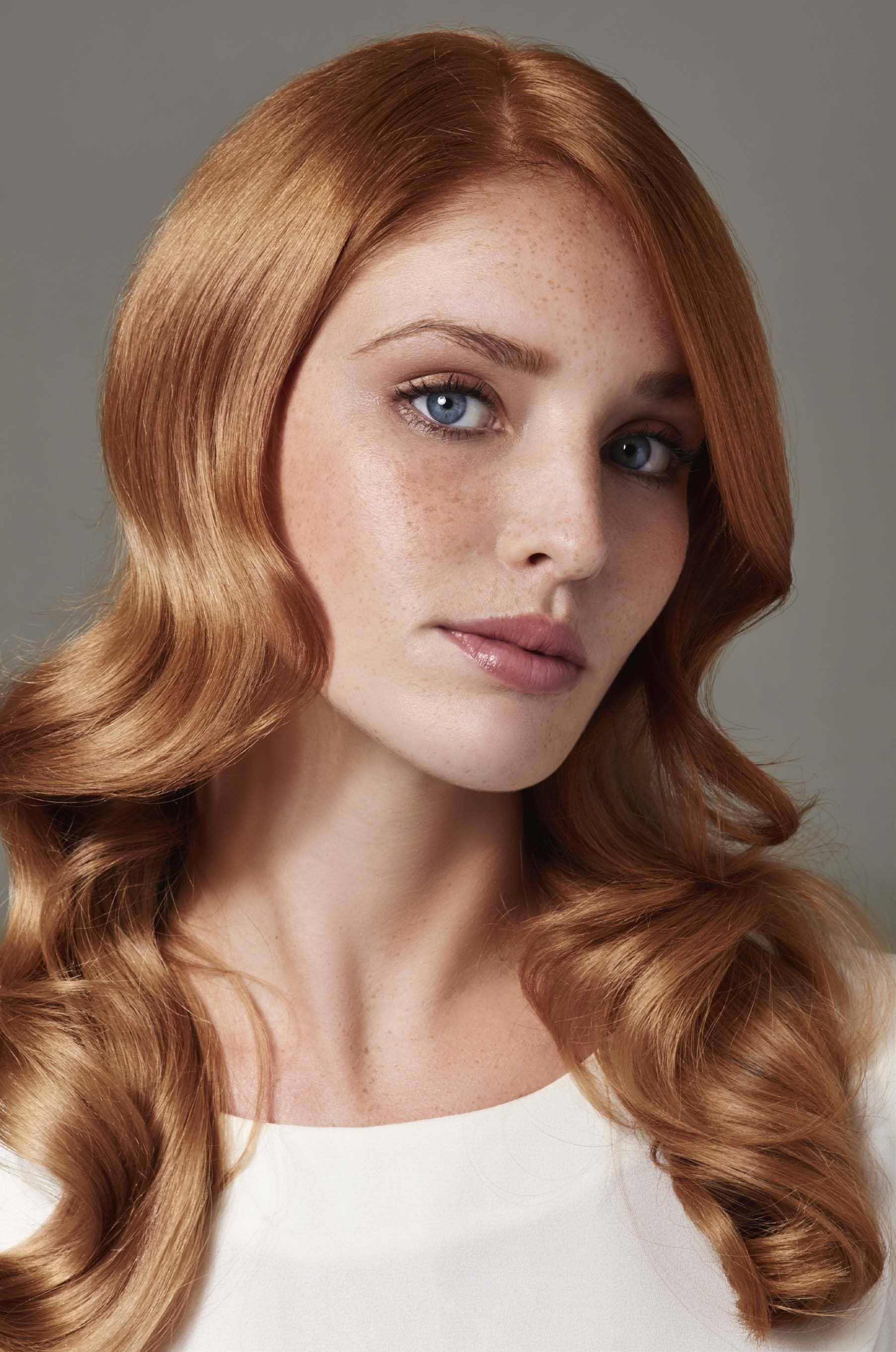 Red hair with strawberry blonde highlights photo