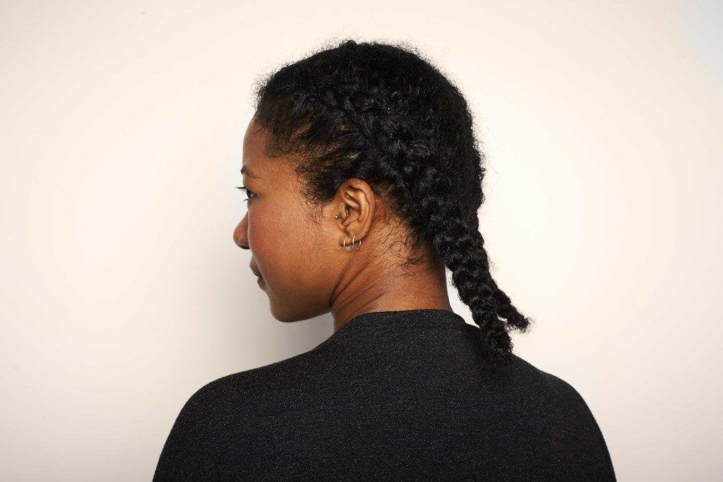 two braids on natural hair