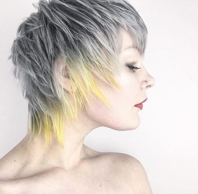 gray and yellow unicorn hair