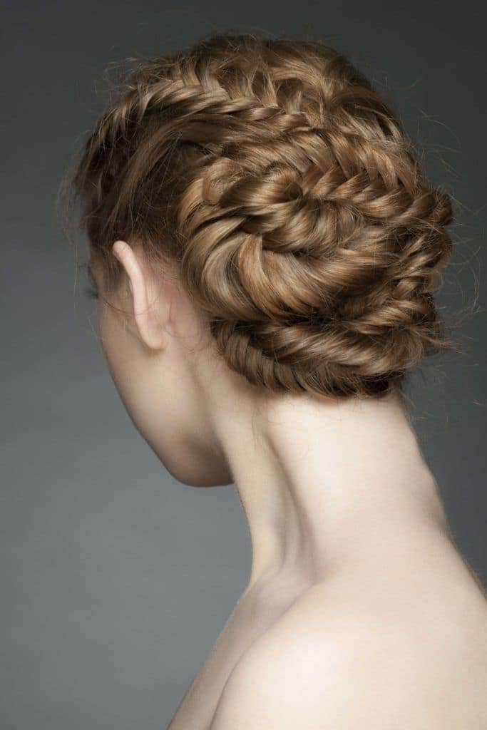 wedding braids zig zag light brown hair
