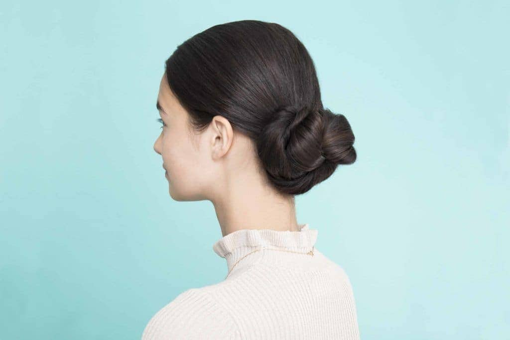 wedding braids pretzel bun dark brown hair