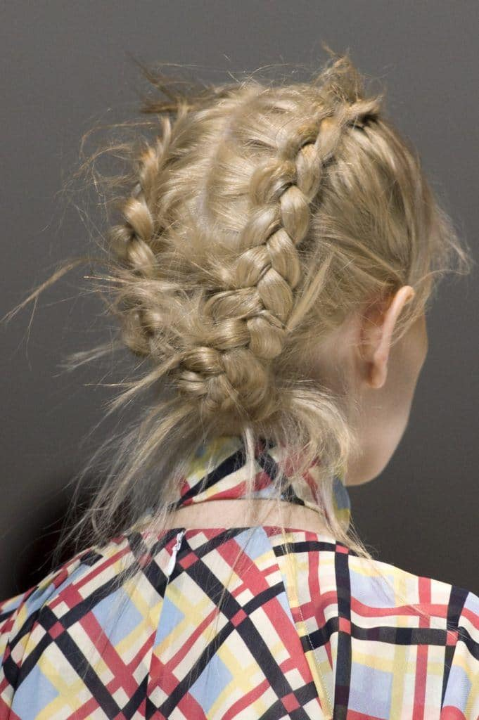 wedding braids blonde messy dutch braids.