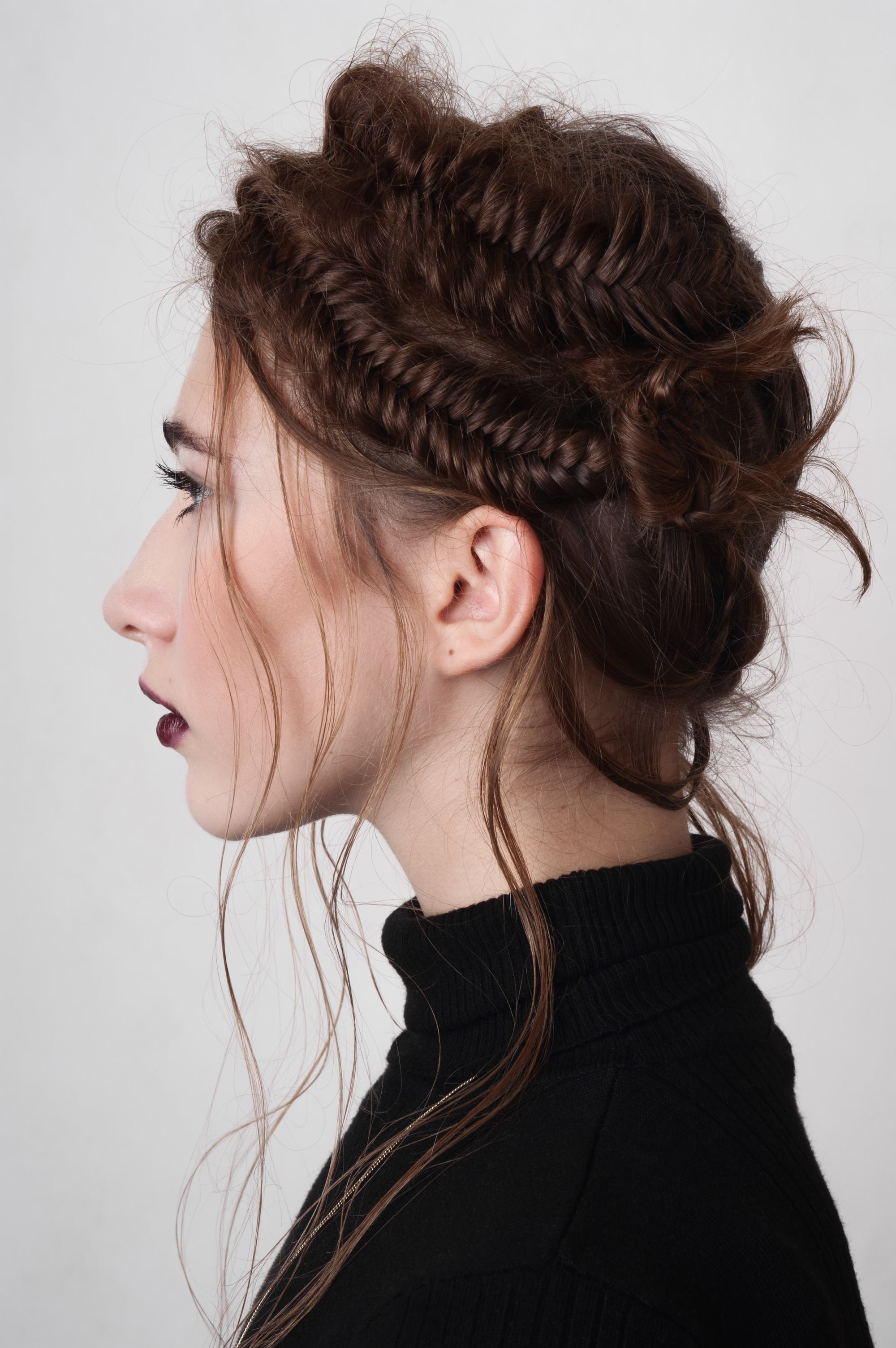 wedding braids double fishtail headband messy brown hair