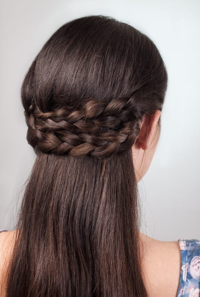 wedding braids double braided half updo brunette
