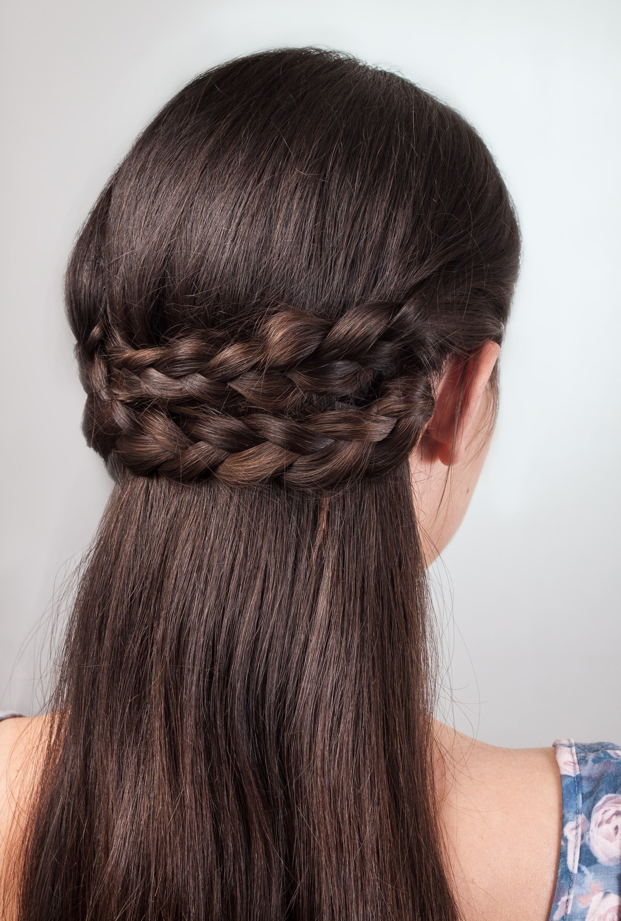 wedding braids brunette hair two three strand braids