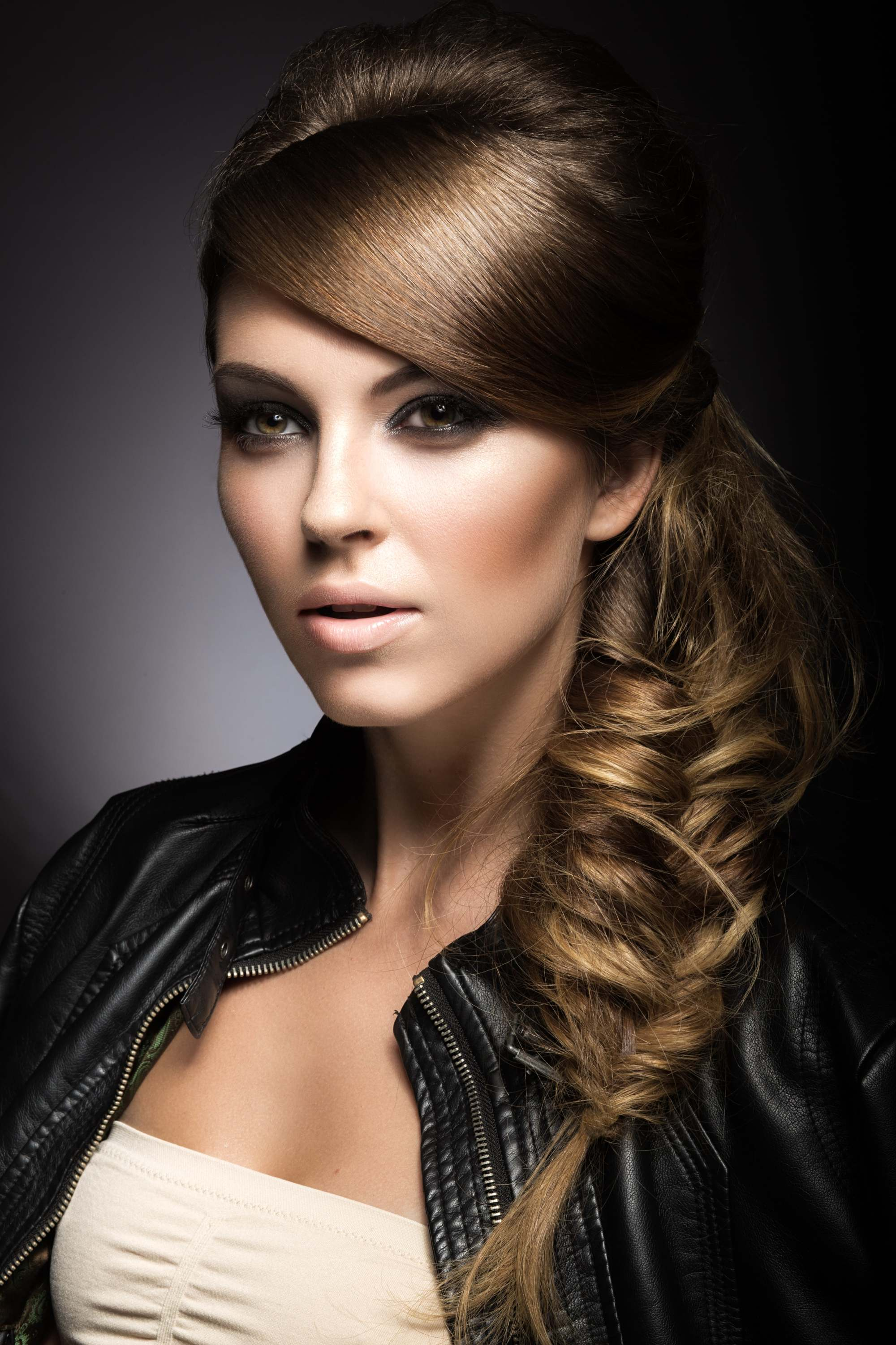 wedding braids side bangs light brown hair fishtail braid