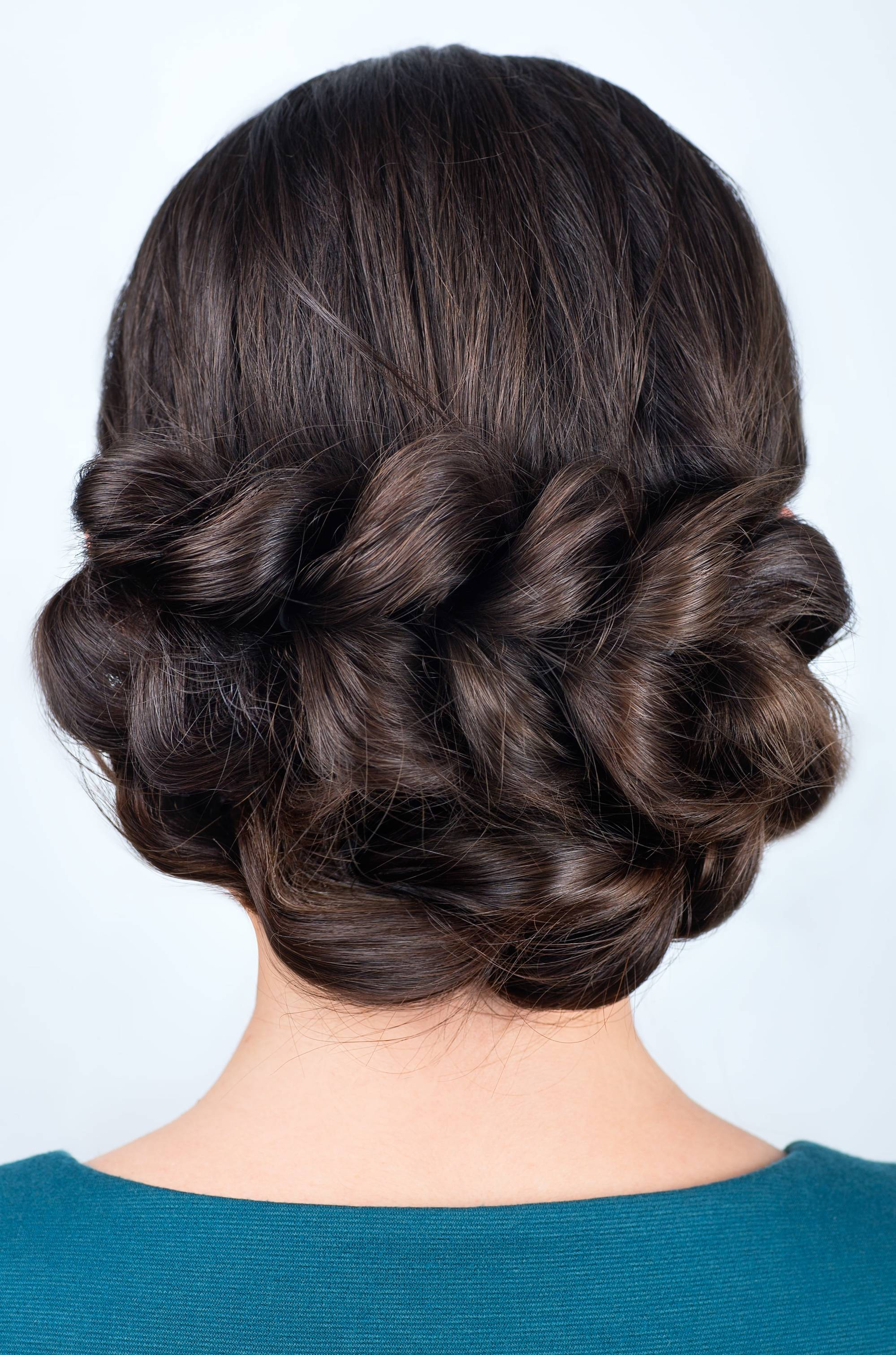 wedding braids bubble braid dark brown hair