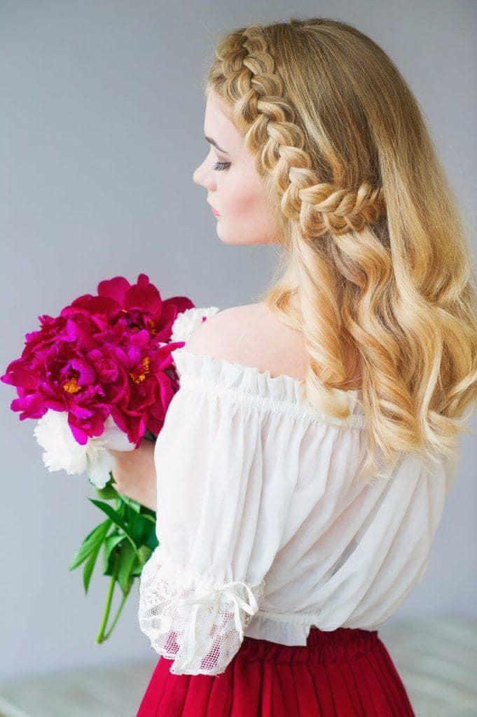 wedding braids half a braided headband