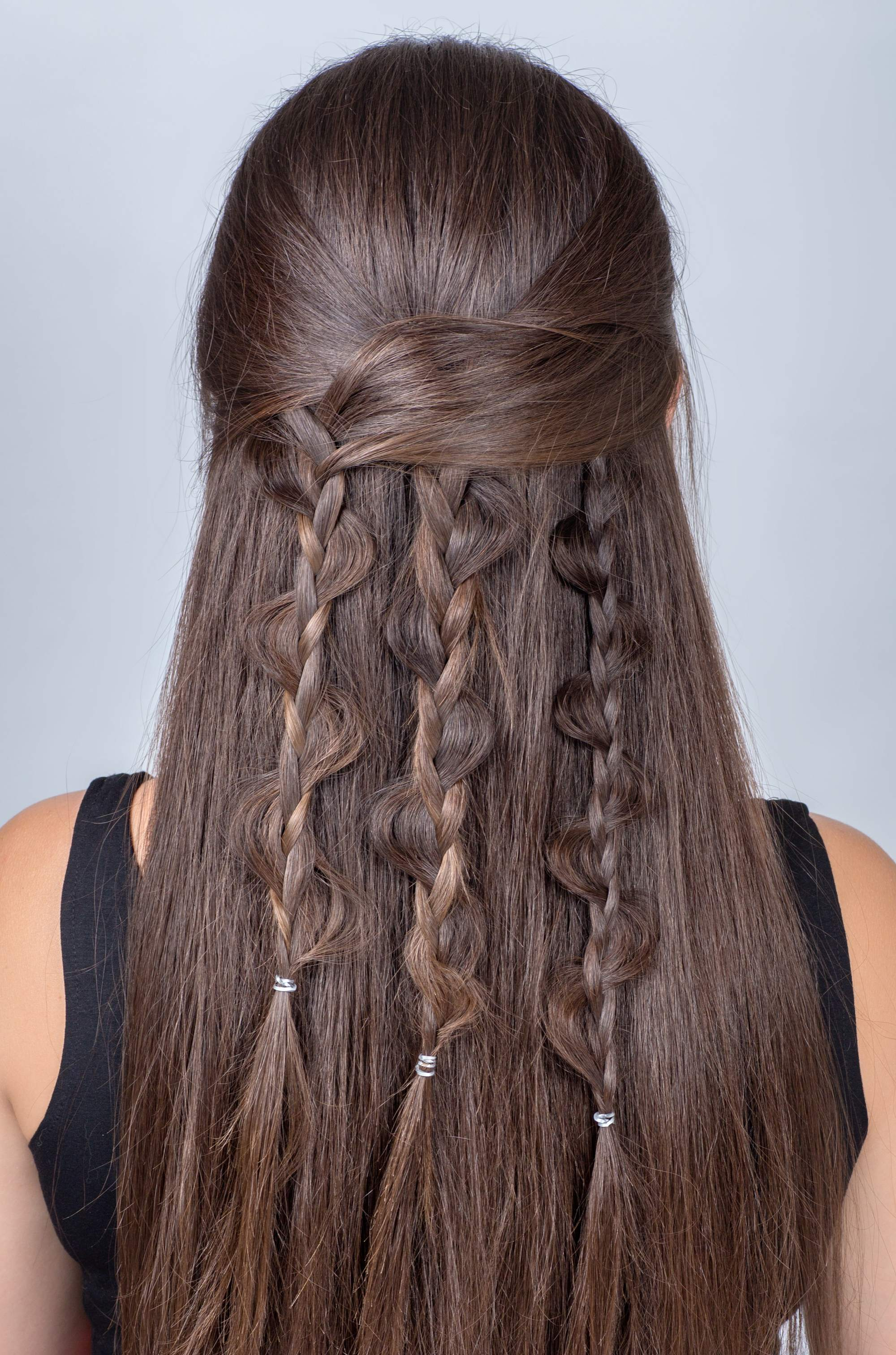 wedding braids snake braid brown hair