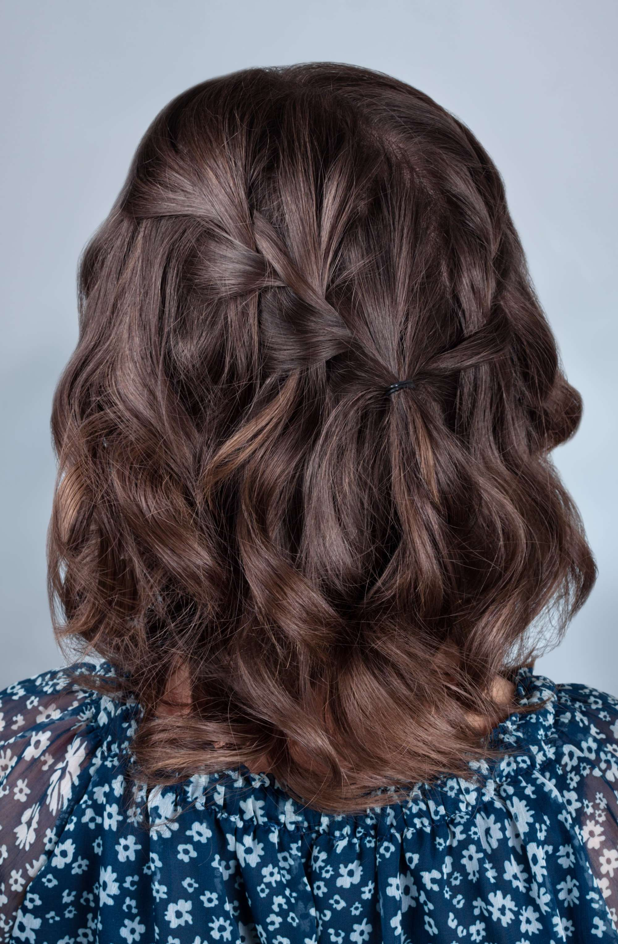 wedding braids waterfall braid short brown hair