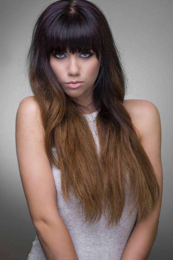 black hair with bangs