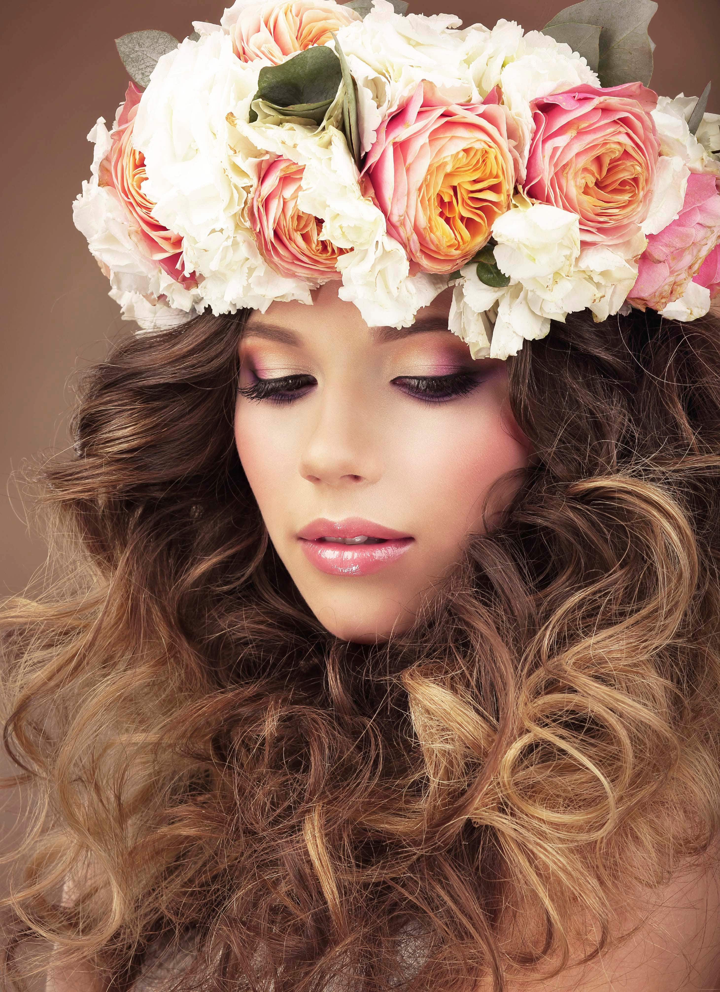 bridal hairstyles with a flower crown