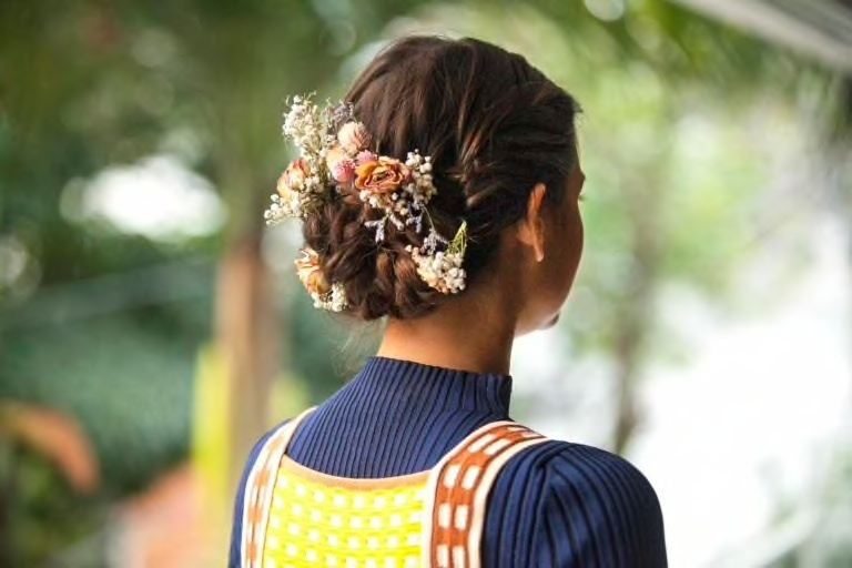 bridesmaid hairstyles floral chignon