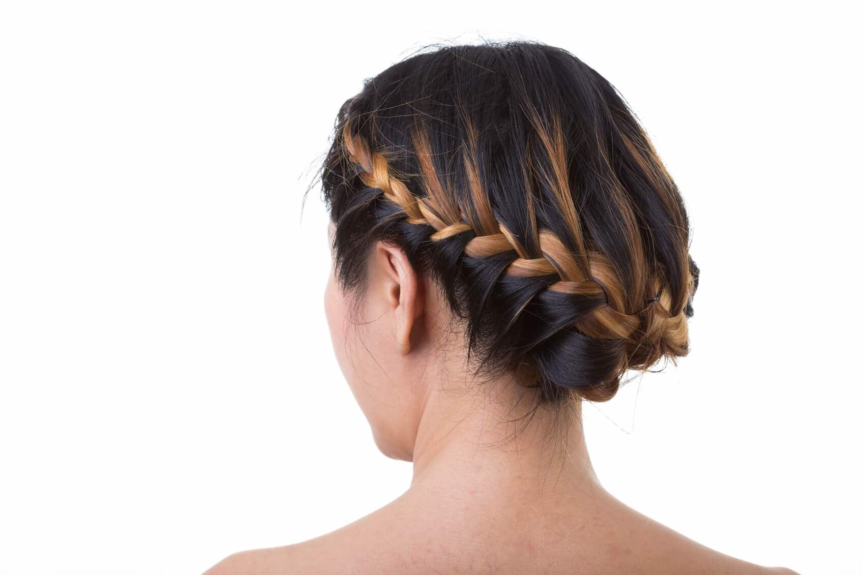 brown hair with blonde highlights in an updo
