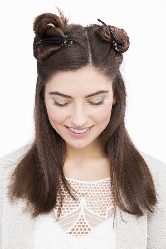 how to straighten hair using mini buns