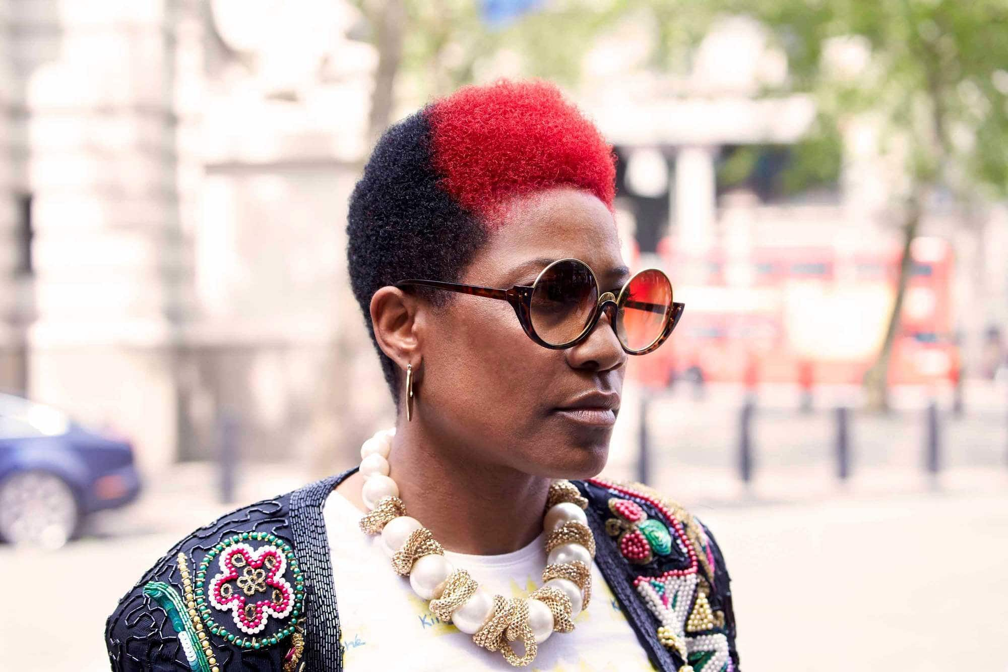 spring hair colors: bright red afro